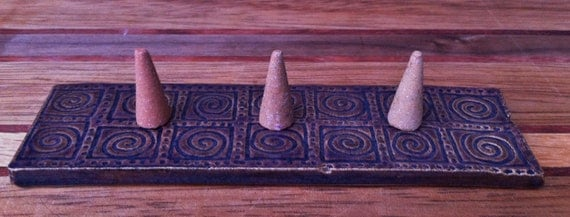 Handmade Southern Living Mocha Cappuccino Ceramic Spiral Candle/Incense Holder