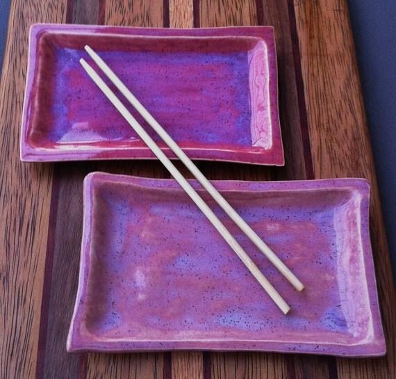Key West Coral Reef Pink Ceramic Sushi Plate Set