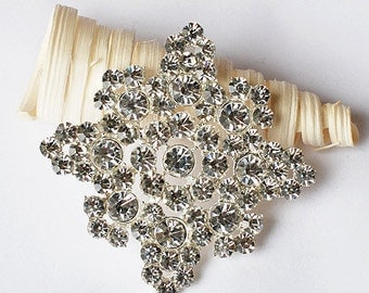 Rhinestone Brooch Component Square Crystal Flower Bridal Hair Comb Shoe Clip Pin Wedding Cake Decoration Invitation BR096