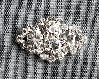 10 Rhinestone Buttons Diamond Square Diamante Crystal Flower Comb Wedding Invitation Scrapbooking Ring Pillow Napkin Ring BT090