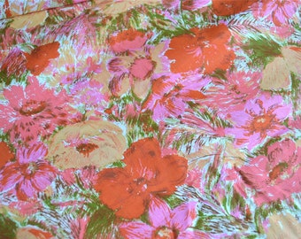 Vintage Fabric - Lovely Mod Watercolor Roses - By the Yard