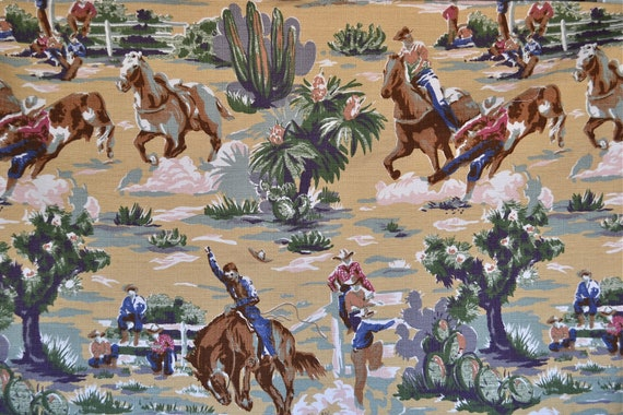 Vintage Barkcloth Fabric Cowboy Western Rodeo 2 Yards By