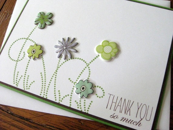 THANK YOU so much with Puffy Flowers and Swirly Grass - handmade greeting card