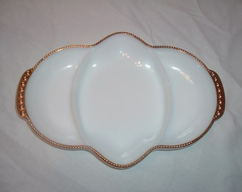 MILK GLASS Divided Serving DISH by Fire King