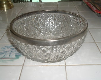 vintage clear glass diamond cut silver rimmed serving bowl