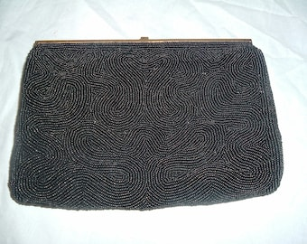 vintage black Italian beaded  clutch purse