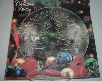 vintage clear glass CHRISTMAS PLATTER still in the box made in ITALY
