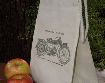 Recycled cotton lunch bag - Canvas lunch bag - Motorcycle lunch bag - For him lunch bag - Gender neutral lunch bag -Old fashioned motorcycle