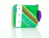 Rick Rack Pouch - GREEN ENVY - Zippered - Handmade in USA