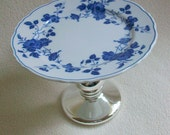 Cupcake Stand Pedestal Dish Eco Friendly Re Imagined Blue and White China Mercury Glass