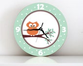 Orange Owl sitting on a tree branch Unique large Modern children bedroom handmade decorative printed graphic design wall clock