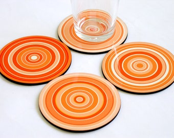 Wooden coasters, Drink coasters, Wood coasters, Orange Pumpkin Circles Modern geometric coasters, coaster set, set of four coffee coasters