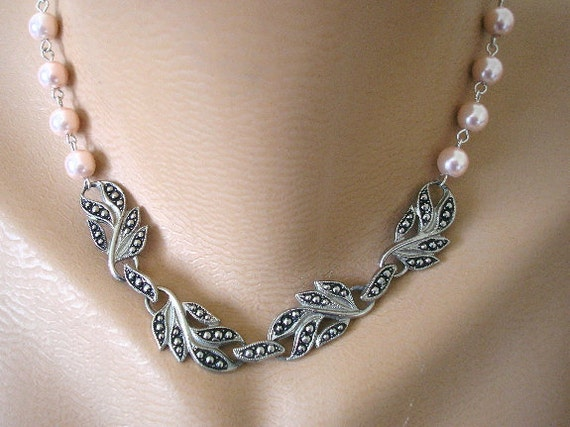 Marcasite Necklace, Bridal Necklace, Pink Pearls, Pink Wedding, Bridal Jewelry Set, Pearl Necklace, Party Necklace, Prom Jewelry, Vintage