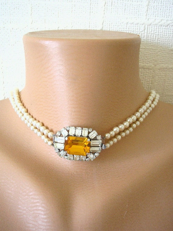 The Great Gatsby Necklace,  Bridal Backdrop Necklace, Pearl Bridal Necklace, Wedding Jewelry, Vintage Jewellery, Cream Pearls, Citrine
