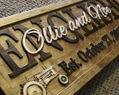 Personalized Family Name Signs CARVED personalized farm sign Christmas Gift green tractor john lovejoystore wedding couples wedding sign