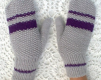 Mittens Gray Purple Hand Knit Striped Seed Stitch Women Ladies Teens Men