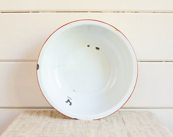 Large Vintage Enamelware Bowl, White with Red Trim