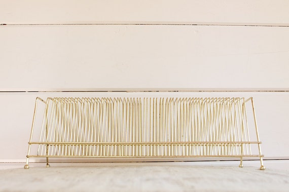 Vintage Mid Century Record Rack in Gold