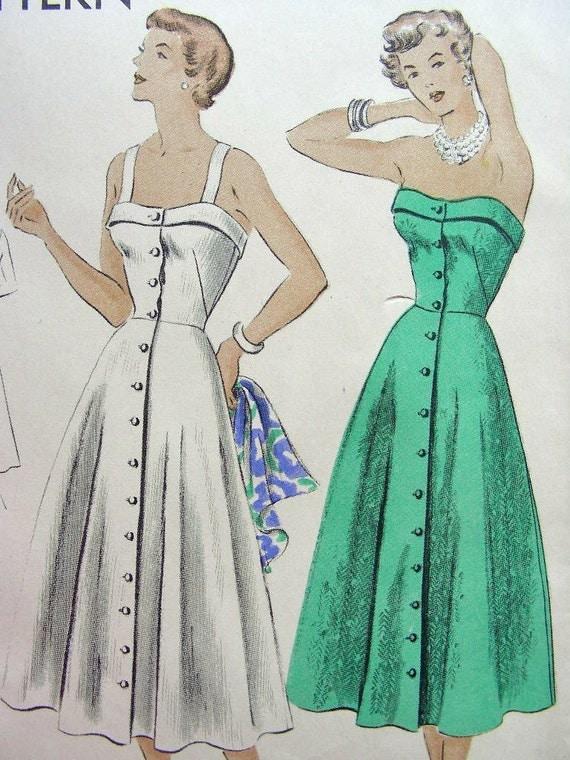 Vintage 50's VOGUE Sewing Pattern 6710 -  Lovely STRAPLESS Sundress - Uncut - Bust 30 - FF