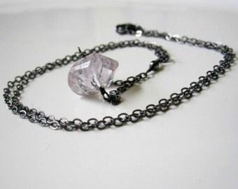 Pink Amethyst Necklace, Pale Pink Necklace, Oxidized Silver Jewelry, Light Pink Pendant, February Birthstone Jewelry, Unique Necklace