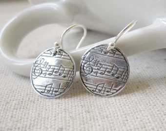 Music Earrings, Fine Silver, PMC, Music Jewelry, Musician, Musical Note, Sheet Music, Music Lover Gift, Silver Music Earrings