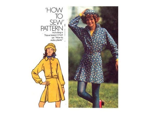 1970s Skirt, Jacket and Hat Pattern Dolman Sleeve Blouson Jacket Spring Summer Simplicity 5422 Pleated Skirt Bust 36 Vintage Sewing Pattern