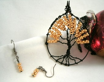 Wire Wrapped Tree of Life Farfalle Glass Necklace and Earrings