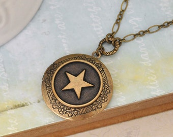 star locket necklace - STAR is MY GUIDANCE - antiqued brass star locket necklace