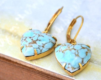 boho earrings, turquoise earrings, gold brass earrings, vintage jewel earrings, BLUE HEARTS. vintage glass Turquoise earring