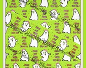 NEW 25 Yards 7/8 HALLOWEEN white girl Ghosts Ghouls dots orange black purple on Lime Green Grosgrain Ribbon sewing clips hair bows Glitter