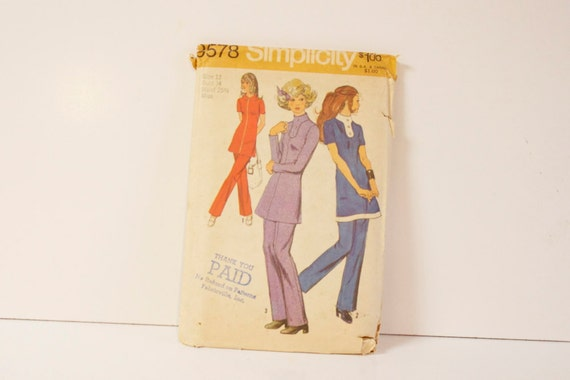 Vintage 1971 Simplicity Womens Tunic and Pants Pattern 9578 Size 12