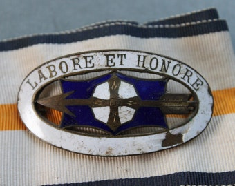 Labore et Honore / Victorian Enamel Brooch and Ribbon / Work and Honor