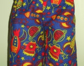 Waldorf Boy Doll Clothes - Spaceships and Rockets Flannel Pants - Pajamas - Loungers - 15 Inch Boy - B