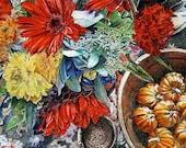 Fall Flowers Print- Pen and Ink, Watercolor Painting- Red Gerbera, Orange Pumpkins- Yellow Mums- Bright Colors- Autumn- Watercolour