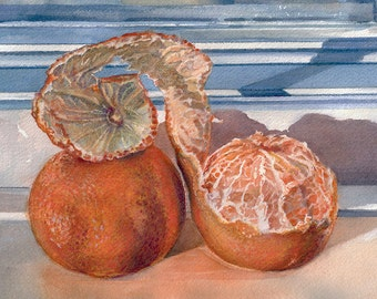 Oranges Watercolor Painting- 2 Tangerines on Blue Windowsill- Realistic Still Life- 8.5x11-  Horizontal