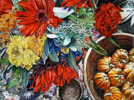 Fall Flowers Print- Pen and Ink, Watercolor Painting- Red Gerbera, Orange Pumpkins- Yellow Mums- Bright Colors- Autumn- Watercolour