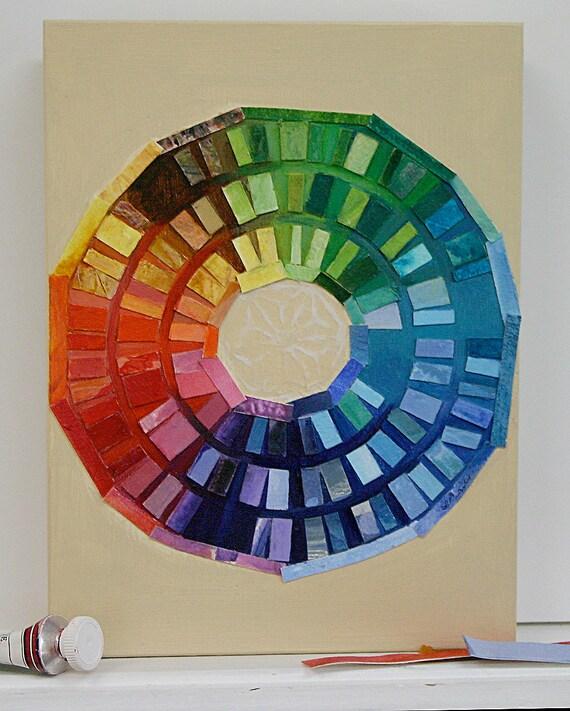 Painted Circle Collage- Original Watercolor Acrylic Abstract- Wood Block- Rainbow