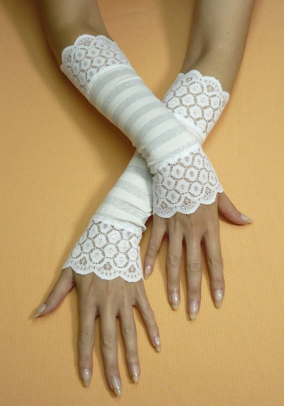 Regency Wedding Armwarmers with Stretchy Lace, White Silver Fingerless Gloves, Shiro Lolita, Romantic Bridal Sleeves, Boho, Striped
