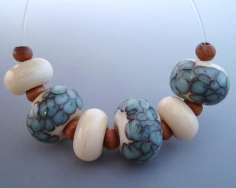 5 American Made Lampwork Beads Turquoise and Ivory