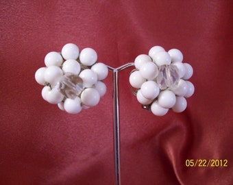 Vintage Japanese White Glass Button Clip Earrings