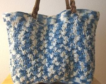 Purse - Large Crochet Shopping Tote /  Beach Bag / City Purse