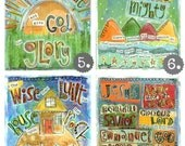 Set of 8, Scripture Sunday School Song Prints, 8 x10 Fine Art Print, Mixed Media Collage