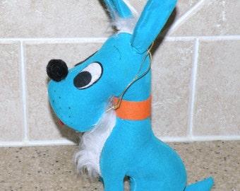 Vintage Blue Velvet Dog Stuffed Toy by Jerry Elsner NY Made in Japan