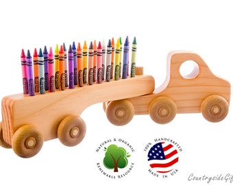 Crayon Holder - Wooden Truck Crayon Holder - Handcrafted Natural and Organic Wood Crayon Holder -  Wooden Crayon Holder for 24 Crayons