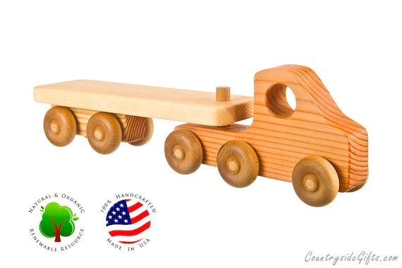 Wooden Toy Truck with Flatbed Trailer  - Natural