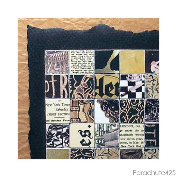 MOSAIC PAPER COLLAGE, recycled paper, 8x8 framed art, accent art, mustard, black, mocha & espresso