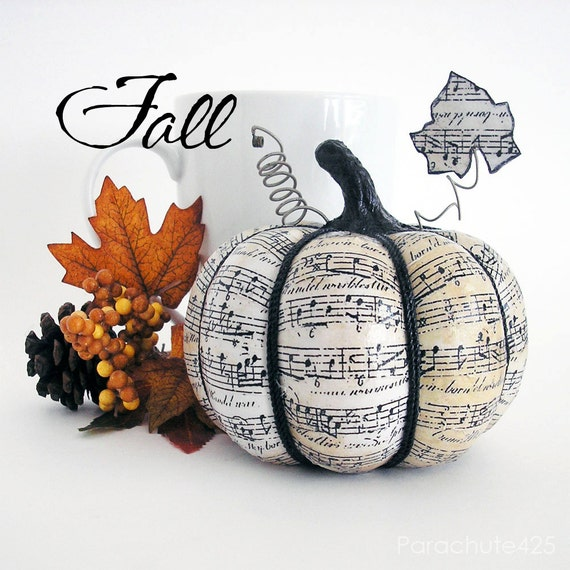 Music Pumpkin 126, 4 inch, decoupage Halloween decor, music decor