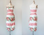 vintage 1950s bombshell dress / vintage bombshell dress / 1950s strapless dress