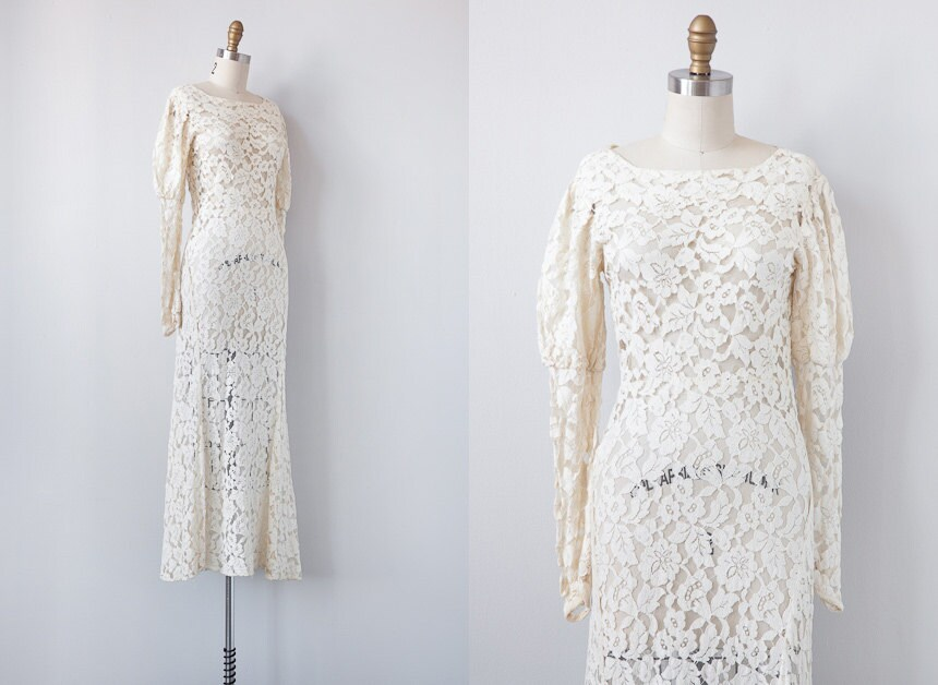 1930s Wedding Gowns: 1930s Wedding Dress / Vintage 1930s Lace Gown / By