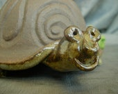 Ceramic Turtle Bowl, Dish, Holder In Sky Blue and Black Mountain